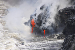 Molten Lava pouring into the ocean, Hawaii (Damon Tighe) Tags: ocean red orange hot beach water rock flow island volcano hawaii lava big waves pacific steam east formation hi geology dripping kilauea molten igneous rift klauea