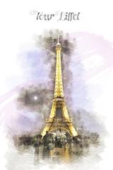 Tour Eiffel (Manu3la) Tags: travel panorama paris color water watercolor landscape torre tour pastel eiffel paesaggio famosa parigi acquerelli acquerello