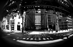 L Train (TheDudeWithTheBeard) Tags: city blackandwhite chicago lensbaby nikon fisheye ltrain club16