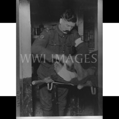 WWI0089B1 (ww1images) Tags: armband table soldier foot sock post cabinet timber books moustache blanket british supplies shelter medic bandage dugout cellar bearer redcross orderly tressel tunic allied brevet puttee streacher