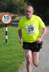 Gordon Davidson of The Scottish Farmer manages to keep within the speed limit on his 20k leg of the challenge. Photo courtesy of Karen Carruth, The Scottish Farmer