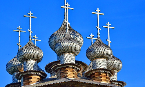 The domes on the Church of the Intercession of the Virgin, Kizhi Pogost, Northern Russia