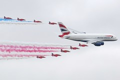 G-XLEA and Red Arrows 20 July 2013 (ACW367) Tags: airbus a380 britishairways redarrows raf fairford riat flypast gxlea
