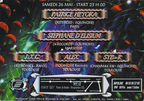 "Dj Patrice Heyoka - Flyer 26/05/2001 -  Equinoxe @ QGS <a style=""margin-left:10px; font-size:0.8em;"" href=""http://www.flickr.com/photos/110110699@N03/12211257953/"" target=""_blank"">@flickr</a>"