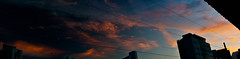 a sun not seen during the sunset (jdrephotography) Tags: pink blue light sunset sky panorama orange weather yellow clouds buildings dark skyscape landscape colorful neighborhood clear colored cloudscape cloudporn skyporn degrade jdrephotography sunnotseen notasuninsight