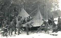 Schneeschuh soldaten setting up camp in a pine forrest, ca. 1915 (Paranoid_Womb) Tags: soldier army war postcard wwi german empire imperial 1914 1915 greatwar worldwar 1917 1918 1916 wolrdwarone