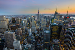 Manhattan Sunset (Rodney Campbell) Tags: nyc sunset usa newyork night unitedstates rockefeller topoftherock cpl gnd09