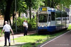 Amsterdam: Lunch time in the city (Amsterdam RAIL) Tags: amsterdam trolley tram 10g electro streetcar tramway tramvaj 809 lhb tranvia gvb frederiksplein drivertraining blokkendoos gvba gvbamsterdam instructiewagen instructierit lestram gvb809