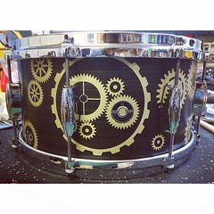 7X14 Brass Plate snare drum. About 3mm thick. Loud. Sensitive.  With a cog and gear patina. This is not paint. It's oxidization of the brass! Check @lonestarperc in Dallas if you want to hear this snare drum!! #qdrumco #brass #snare #lonestarpercussion