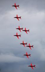 Red Arrows (Bernie Condon) Tags: plane flying team display hawk aircraft military jet airshow arrows reds bae trainer redarrows raf cosford rafat areobatic