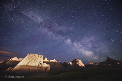Milky Way and Shooting Stars, Badlands National Park, South Dakota [5926] (cl.lin) Tags: longexposure nature southdakota nikon midwest nightsky badlands shootingstars badlandsnationalpark meteors milkyway d600 1424mm