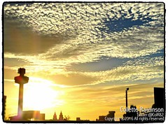 All rights reserved Collette Rawlinson (Collette Rawlinson) Tags: liverpool sunset 2016 september sky blue outdoors clouds city landscape skyline bird liver building train station sun beautiful pretty taxi road street