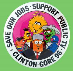 Sesame Street button for Clinton-Gore '96 (Tom Simpson) Tags: sesamestreet button clinton gore election 1996 1990s vintage television bigbird bert ernie grover oscarthegrouch billclinton campaign