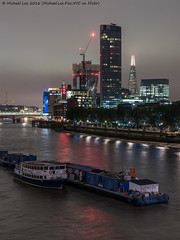 South Bank (DSC08553) (Michael.Lee.Pics.NYC) Tags: london england unitedkingdom thamesriver southbank waterloobridge night shard oxotower cloudy cityscape architecture boat 2016 sony a7rm2 fe2470mmgm barge construction blackfriarsbridge oneblackfriars
