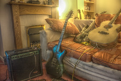 Guitarception (GarethBell) Tags: guitar music hdr cort ibanez tangleweood stagg sofa amplifier canon canoneos450d north wales anglesey indoor northwales