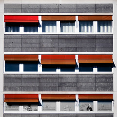 facade (morbs06) Tags: abstract architecture awnings building city colour detail facade light lines markisolettes office orange panels pattern red rot shadow square stone stripes urban windows
