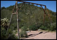 Vulture City School Playground (~ Lone Wadi Archives ~) Tags: wickenburgarizona vulturecity abandoned abandonment overgrown playground schoolyard americansouthwest lonesome rural vulturemine oldwest swingset