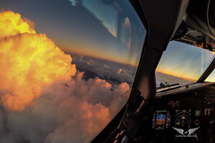Sunset - Boeing 737NG cockpit (gc232) Tags: gopro sunset clouds cloud cloudy sky cumulonimbus cumulus tower tcu cu cb sunrise sun light evening twilight dawn aerial live from flight deck golfcharlie232 boeing b737 b737ng b737700 b737800 b737900 737 737ng 737700 737800 737900 cockpit wide angle fisheye timelapse approach arrival instruments airline pilot view fly flying aviation avgeek plane airplane pilots piloting flightdeck weather