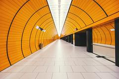 Marienplatz (RG Video) Tags: munich way adidas germany architecture orange sub tunnel ubahn marienplatz station train alone archi