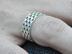 Parquet deformation ring in silver (csk_azriel) Tags: geometry parquet ring escher deformation shapeways