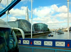 Driving across the thames (Chris & Angela Pye) Tags: urban london history water towerbridge buildings boat scenery shard riverthames