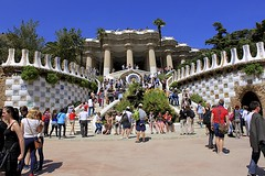 Monumental Grand Staircase (oxfordblues84) Tags: barcelona park travel blue sky architecture stairs spain catalonia tourists catalunya modernistarchitecture parcgell antonigaudi parkgell monumentalgrandstaircase