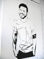 Happiness Guy    (Toni Kaarttinen) Tags: man guy smiling painting stpetersburg beard graffiti restaurant cafe stencil russia happiness petersburg saintpetersburg cafeteria sanktpeterburg rossiya