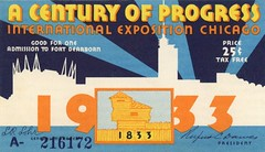 A Century of Progress Ticket, Chicago, 1933 (Alan Mays) Tags: old blue orange white chicago yellow vintage buildings paper tickets typography illinois 1930s fairs antique silhouettes progress il ephemera international ill type artdeco rays fonts printed admissions forts 1933 typefaces expositions internationalexposition chicagoworldsfair fortdearborn worldsfairs centuryofprogress admissiontickets