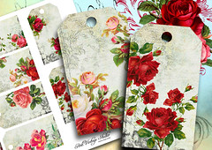 Printable rose labels (PinkVintageStudio) Tags: art halloween collage digital vintage cards grunge victorian jewelry sheets aceo designs etsy marieantoinette holders papercraft digitalcollage printables printable collagesheets