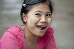 MM008 Myanmarese girl sucking candy (VesperTokyo) Tags: pink portrait girl child yangon burma myanmar burmese rangoon thanaka hairclip thanakha nikond3 myanmarese