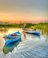 Family solidarity (Nejdet Duzen) Tags: trip travel family lake sunrise turkey boat fishing fisherman trkiye sandal aile gl turkei seyahat manisa gndoumu balk balklk glmarmara inspiringcreativeminds
