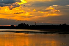 Golden Eve. !!! (Rambonp love's all creatures of Universe.) Tags: trees sunset red wallpaper sky orange sun india mountains nature silhouette yellow clouds canon landscape evening twilight paradise sundown crop chandigarh sukhnalake dimness touristplace