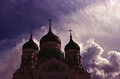 Alexander Nevsky (Elisabeth Gil) Tags: blue light sky sun white clouds gold tallinn cross cathedral rich dome orthodox alexandernevski