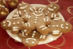 Plate of Gingerbread Cookies (Cat Girl 007) Tags: christmas food holiday home cookies dessert photography ginger cookie sweet seasonal gingerbread plate sugar celebration homemade christmasdecorations snack icing treat frosting confectionery decorated christmasornaments redtablecloth holidaysandcelebrations vision:food=0628 vision:outdoor=0547