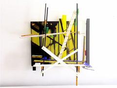 Petite Chose ( 2007 ). Plexy, boulons, peinture, photo. Il y a une partie mobile. (emmanuelviard75) Tags: sculpture photo structure transparence mobilit murile chaffaudage plexy opacit