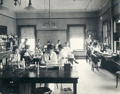 Bacteriology Lab 1919 (UWMadisonCALS) Tags: blackandwhite students historical cals bacteriology