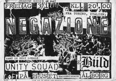 flyer of a NEGAZIONE show in Denmark. 03.01.1986 at the Huset in Alborg