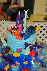 Finding Nemo 1st Birthday Cake (rikkitikitavi) Tags: cake coral seashells dessert shark nemo handmade chocolate sealife disney cupcake vanilla squirt reef dory findingnemo milkchocolate fondant buttercream frenchvanilla brucetheshark handsculpted cakeball cakepop