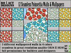 Seamless Poinsettia Walls & Wallpapers Poster (Ro!Act Designs) Tags: santa christmas winter party wallpaper plant flower texture glass wall holidays candy panel designer cluster decoration holly sl celebration secondlife sweets trim decor builder gingerbreadman christmasball woodtrim christmasflower iw winterplant inworld treedecor fullperm oinsettia inworldz alphatexture ballcluster christmasdtreedecoration