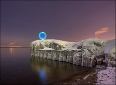 On Icy Point (Rodrick Dale) Tags: winter sky lake toronto ontario canada lightpainting cold ice water aircraft orb photodaleroddick lpo2014