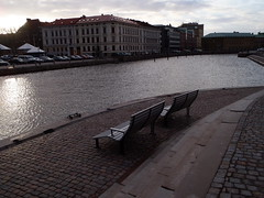 Normal water level (Eva the Weaver) Tags: gteborg canal sweden gothenburg benches revisited