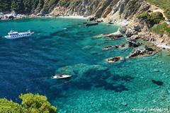 Skopelos Bay (Holfo) Tags: ocean blue sea summer seascape green water beautiful boats greek boat cool nikon rocks mediterranean outdoor turquoise clear greece greekislands skopelos d5100