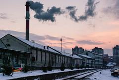 Smoke gets in your lungs (coa75) Tags: city winter snow industry car dusk smoke disease lungs dirtyair