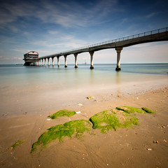 (Claire Hutton) Tags: new uk longexposure bridge blue sea summer england sky building green 6x6 beach water station clouds square coast pier seaside spring sand legs britain jetty wideangle lifeboat coastal le walkway ledge isleofwight gb format poles csc iow bembridge ndfilter 10stop nd110 bw110 tamron1024mm sonynex5r