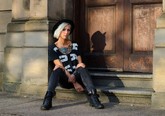 Monica (Charles Hamilton Photography) Tags: glasgow streetportrait glasgowstreetphotography peopleinthecity people characterstudy colourstreetportrait citycentre november tattooed doorway sandstone fashion style streetphotography naturallight primelens shadow seated sittingonsteps girl nikond7000 50mm eyecontact charleshamilton