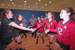 IMG_9492 (SJH Foto) Tags: girls volleyball high school mount olive mt team tween teen teenager varsity tamron 1024mm f3545 superwide lens pregame ceremonies ref referee captains coin toss handshake