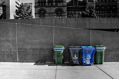Recycled (Cindy's Here) Tags: recycled recycle recyclebins bins selctivecolor thenest cityhall toronto ontario canada canon 34 116 shadows