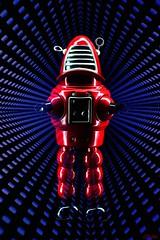 Automat(Ed) (LED Eddie) Tags: robot robbie red metal lightpainted doubletrouble lededdie lightpaintedtoys tintoy longexposure 2hours lightart forbiddenplanet