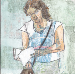 # 266 (22-09-2016) (h e r m a n) Tags: herman illustratie tekening bock oosterhout zwembad 10x10cm 3651tekenevent tegeltje drawing illustration karton carton cardboard vrouw woman lezer lezen reading read reader book boek