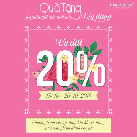 GIẢM 20% CHO TẤT CẢ CÁC SẢN PHẨM THỜI TRANG NỮ